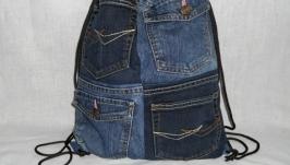 Сумка-рюкзак из джинса на шнурках