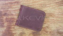 Затискач для грошей, пурпурна шкіра