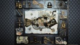Шеддоу бокс в стиле лофт ′ Mechanical fish′