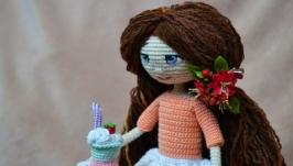 Вязаная игрушка ручной работы, амигуруми Летняя куколка