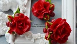 Комплект красные розы с рябиной (кольцо, серьги)