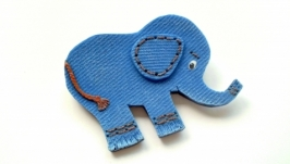 Брошь ′Еlephant′, имитация джинсы