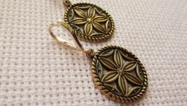 Сережки Колесо Перуна з бронзи жіночі