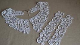 Комплект воротник и манжеты ′Вензеля′ с ручной вышивкой бисером