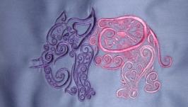 Сумка или эко-торба с фантазийной вышивкой Слон
