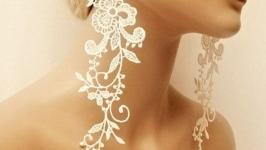 Серьги кружевные, аксессуар для невесты.