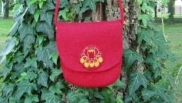 Вовняна сумка Червона квітка
