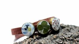 Двойной браслет с настоящими цветами