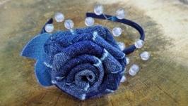 Обруч ′Джинсовая роза′