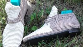 Оригинальные вязанные ботиночки  Утренний кофе