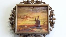 резная картина Айвазовского ′Ветряные мельницы...′