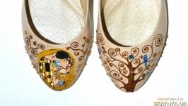 Балетки из кожи с росписью Климт