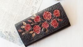 Женский кожаный кошелек с розами