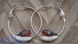 Серьги-кольца с птичками-2, холодный фарфор