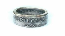 Кольцо из монеты 5 эскудо 1960 Португалия Серебро