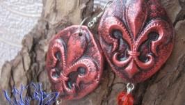 Серьги с Геральдической (Королевской) лилией, холодный фарфор