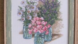 Вишита картина хрестиком ′Тріо польових квітів′.