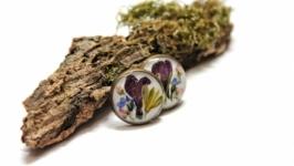 Серьги-гвоздики с букетом цветов