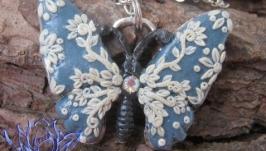 Подвеска-бабочка с филигранью, полимерная глина