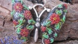Подвеска-бабочка с филигранью-2, полимерная глина