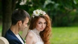 Свадебный веночек и бутоньерки Daniella