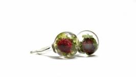 Серьги - сферы с ягодками земляники