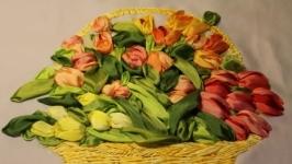 Картина лентами «Корзина тюльпанов». Под заказ