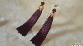 Серьги-кисти баклажанового цвета с гранатом ′Королевская лилия′