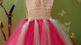 Платье пышное детское ′Праздник′, розово-белое, ′ту-ту′
