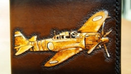 Кошелек кожаный Самолет