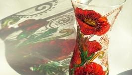 Скляна ваза ′Червоні маки′