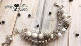 Вечерний блестящий серебряный белый браслет на три нити