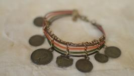 Кожаный браслет с подвесками ′Монетки′