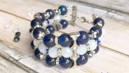 Серебряный синий широкий нарядный браслет с лунным камнем и кошачьим глазом