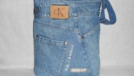 Джинсовая сумка через плечо 43х37 см