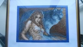 Картина ′Девушка с волком′ вышита крестиком