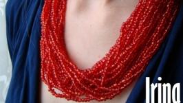 Червоне намисто до вишиванки. Намисто з крупного бісеру