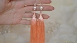 Серьги - кисти персикового цвета с жемчугом ′Персиковый цвет′
