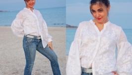 Вышитая белая рубашка. Бохо блузка. Вышиванка
