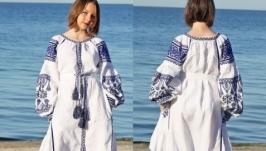 Льняное вышитое платье Вышиванка Длинное платье
