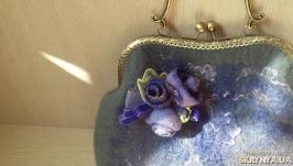 Женская сумка ручной работы хэнд-мейд сумочка с цветами валяная с фермуаром