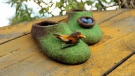 Валяные тапочки Птичье гнездо