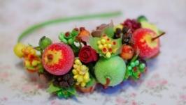 Обруч ободок фруктовый осенний с яблоками
