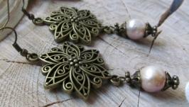 Сережки ′Перлинки′ Сережки із натуральних перлин Довжина - 7 см