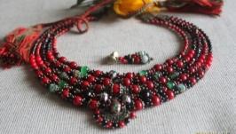 Намисто і сережки з коралу ′Меланж′