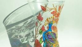 Скляна декорована ваза ′Павич′