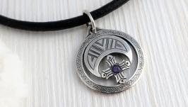 Кулон Лунниця срібло з аметистом жіночий оберіг