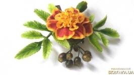 ′Украшение осени′ брошь-заколка для волос с цветами чернобрывцев
