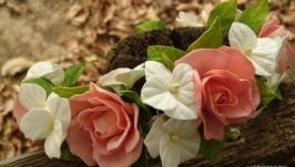 Ободок ′розы и гортензия′№6