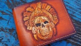 Кошелек кожаный индеец майя